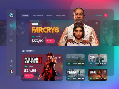Game Store Platform Concept concept sketch figma uxui games design website web ui ux platform store game