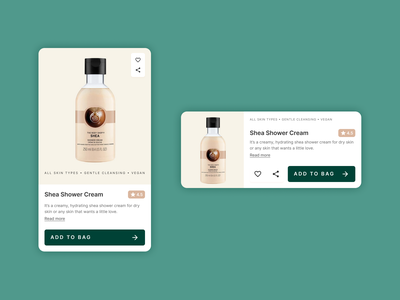 Card - Skincare products branding interaction design ux design ux product design mobile figma dribbble ui design ui
