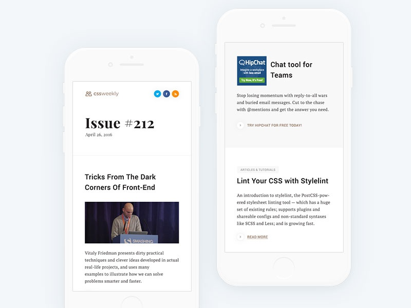 Cssweekly newsletter redesign