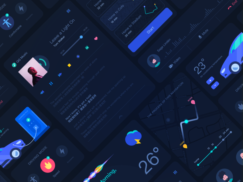 Car Navigation Launcher clean abstract colorful system android debuts widget app desktop ixon dark weather music card ux ui google launcher navigation car
