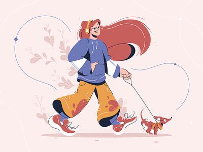 Girl walking music leash concept outside vector woman walking girl dog design illustraion flat character