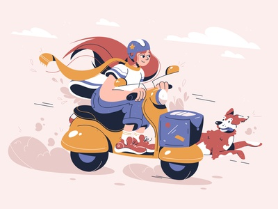 Delivery concept fast person commercial female service ride courier vector concept woman girl bike moped delivery dog flat illustration character