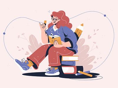 Reading magazine newspaper glasses woman design pencil female books read reading book concept girl flat illustration character