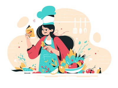 Cooking tasty time culinary chef hat female happy apron kitchen vegetables food cooking woman vector flat illustration girl character