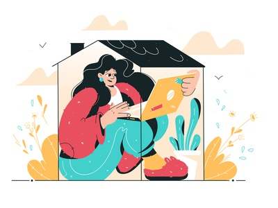 Stay at home stayathome work frilance virus person protected safe stayhome home concept laptop technology female design girl woman vector flat illustration character
