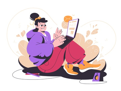 Pretty girl writing email on laptop style home smile conect internet female woman work massege gadget laptop branding business kit8 concept girl flat illustration design character