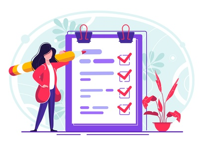 Successful completion of business tasks checklist survey success task form document pencil note clipboard business paper board checkmark clip concept plan questionnaire design girl character