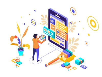 UI, UX design. Device content place infographic ux isometric ui smartphone development programming 3d seo application code coding infographic interface kit media process screen testing marketing character design