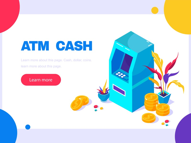 ATM for web page terminal service security screen payment money isometric finance electronic dollar deposit debit currency credit cash card business bank automatic atm