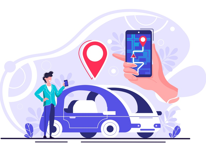 Gps system character get taxi gps guide internet itinerary location map point mobile navigator order online passenger path pathway phone positioning road route screen search