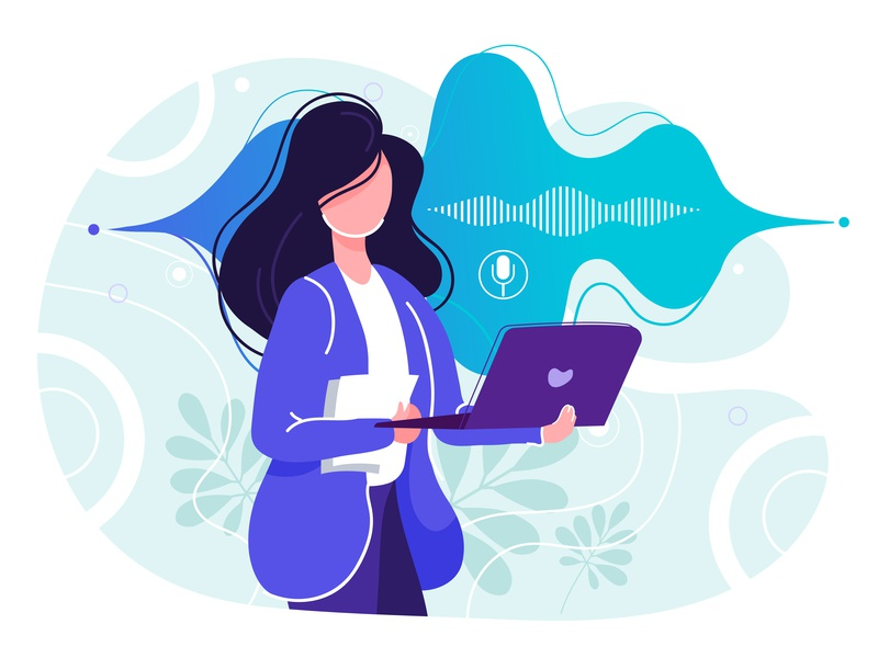 Girl recording voice character device dynamic interface microphone mobile robot smart sound speaker speech system talk technology ui ux voice web design woman