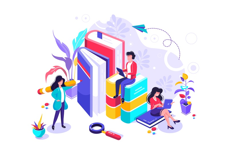 Education character isometric tutorial book design digital internet knowledge learning lesson science seminar student studying team training university video web