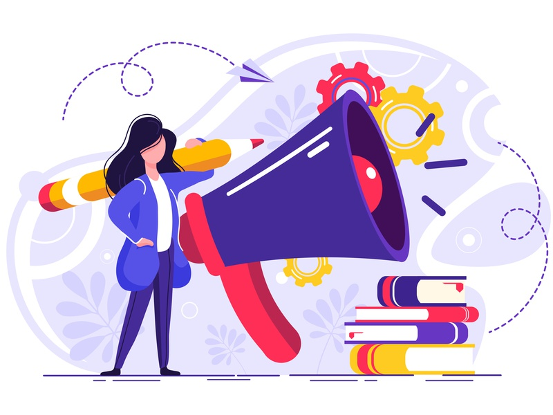 Business promotion vector girl design illustration advertising analytics announce announcement attention broadcasting business campaign caricature character commerce communication corporate digital megaphone web