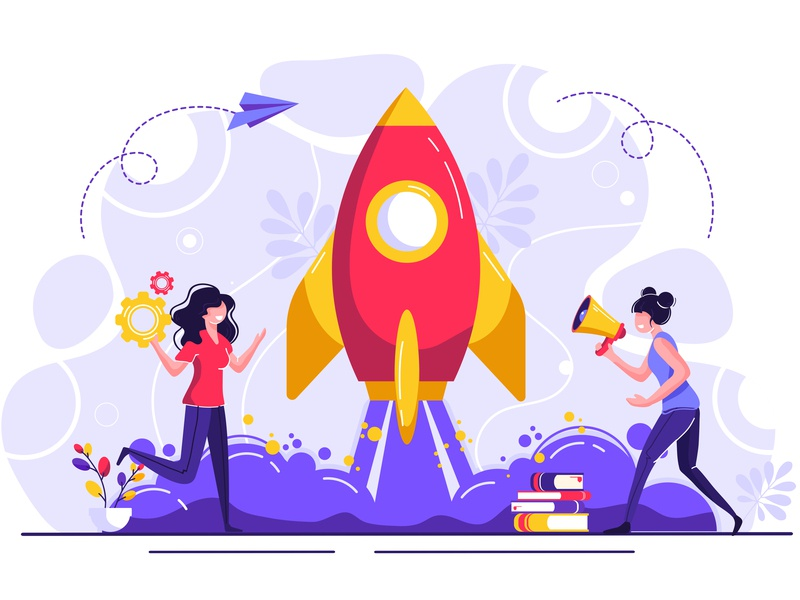 Startup innovation startup technology achievement active ambition business caucasian character company concept creative design development digital finance flat flight idea web
