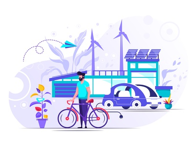 Concept smart house character windmill technology sun solar smart renewable recycle organic nature energy electricity ecosystem ecology design car alternative house clean eco