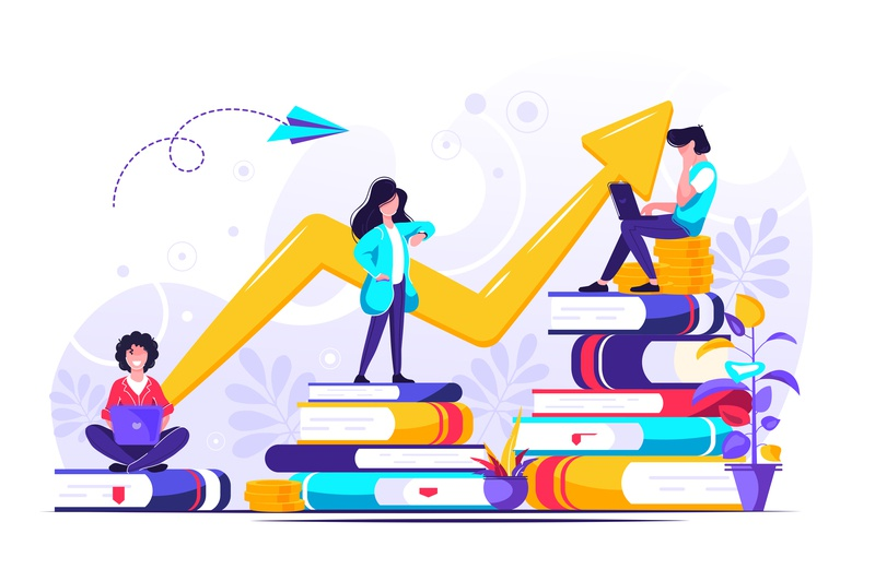Concept for web page. Investment in education character up teamwork team success study planning money leader knowledge invest employee education economy design coin businessman book finance business