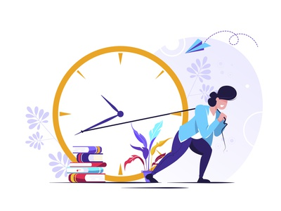 Working time management character work watch wake timer time technology team school reminder network early device design deadline counter countdown clock business alarm