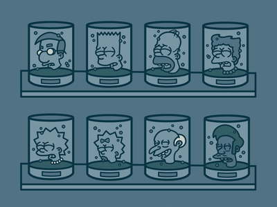The Simpsons: Heads in Jars the simpsons illustration head in a jar aliens