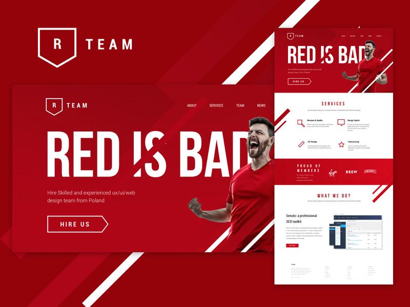 R-Team web onepage homepage webdeisgn ui  ux design ui ux photoshop