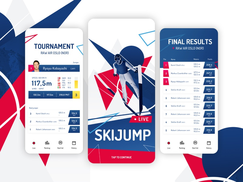 Ski Jump Live - fake app sport ios concept application app live jump skijump ski design ui illustration ux photoshop