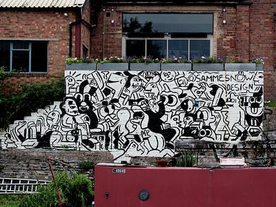 Hackney Wick X SSShake forhire brush paints posca art freehand wallart branding illustraor muralart freelance designer mural