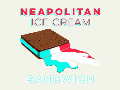 Melting Ice cream sandwich hot melting neapolitan typography summer sandwich ice cream