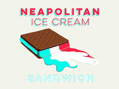 Melting Ice cream sandwich hot melting neapolitan typography summer sandwich ice cream