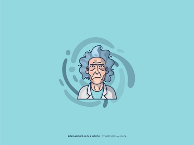 Rick Sanchez (Rick and Morty) expression colors art sketch flat portrait rick and morty rickandmorty graphic face portrait illustration flat