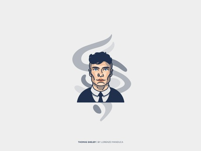 Thomas Shelby peaky blinders shelby peakyblinders adobe illustrator portrait graphic flat portrait flat face expression dribbble colors art