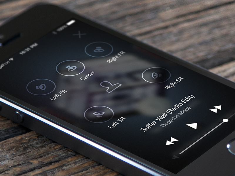 Surround system controls iphone player audio musicapp mobile app ios7 ios music