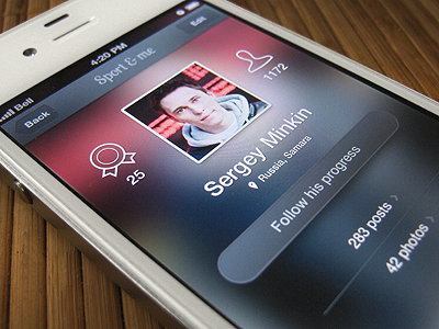 Sports iPhone app mobile ui profile iphone app ios sport