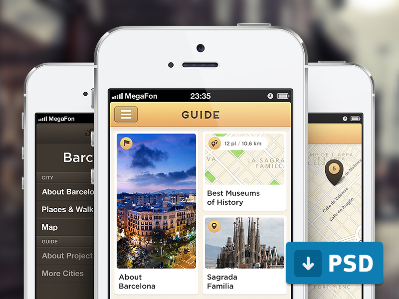 Guide App (free .psd) iphone ios app guide free psd
