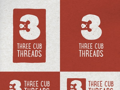Three Cub Threads negative space family toddler identity austin typography clothing kids bear design illustration logo