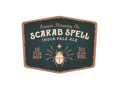 Scarab Spell IPA coming soon! texture typography bohemian alchemist archer beer label packaging terracotta egyptian egypt beer