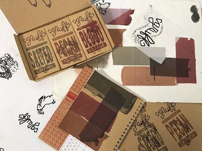 Screenprinted packaging illustration screenprint packaging gruff