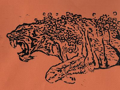 Swimming Tiger, Woodcut illustration tiger woodcut