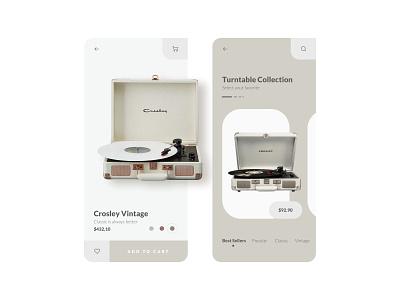 Turntable Shop App 💿 music turntables minimalist mobile uidesign ui mobile ui minimal mobile app design uiux design music app