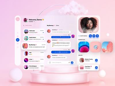 WhatsApp Redesign 🦄 desktop app desktop design design ui minimal webdesign userinterface uxui pink glassmorphism redesign concept whatsapp