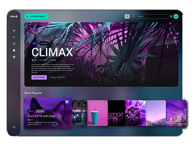 Blim TV Redesign 💜 figma uidesign flat minimal responsive tvshow broadcast climax glassmorphism ui design redesign concept redesign