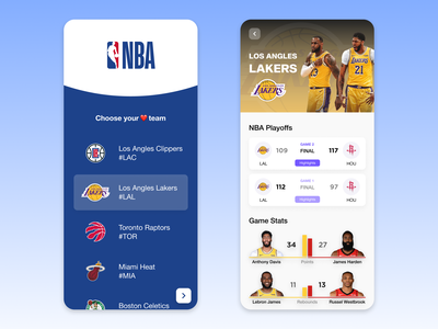 NBA Live Scores Mobile App lakers nba ui mobile app design design