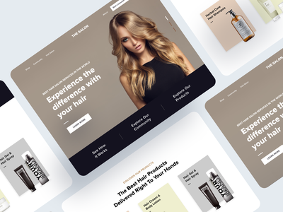 Female Hair Saloon Booking Site Landing Page Design showoff haircut hair landing page ui design