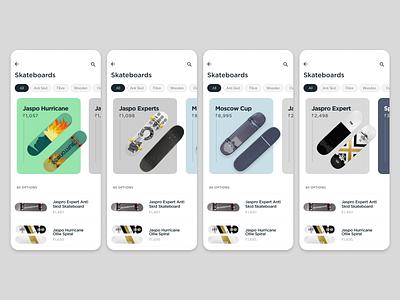 Skate E Commerce Mobile App Design skateboard skate ecommerce design mobile app design ui design
