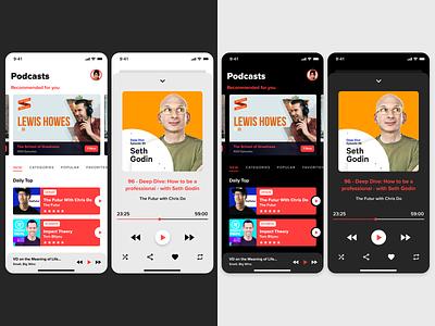 Podcast Mobile App Design | Light & Dark Mode dark mode light mode podcast mobile app design ui design