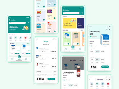 Medizo mobile ui cards google ios mobile minimal icon app ux digital ui design