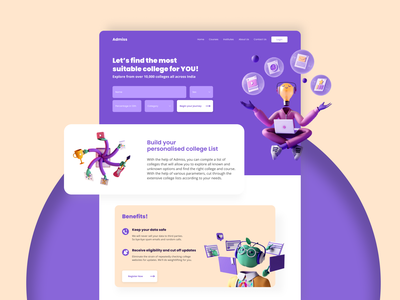 Admiss: College finder landing page ui 3d form landing page website design flat minimal web app ux ui digital