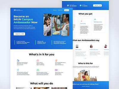 IMUN Landing Page blue landing page website landing web design digital ux ui