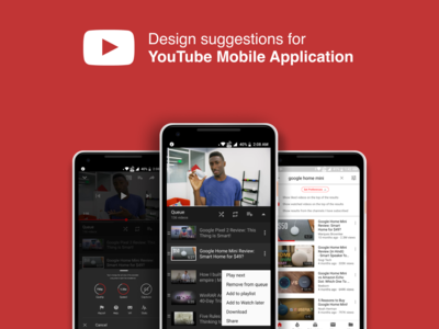 YouTube mobile app suggestions