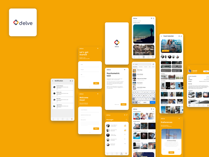 Delve: Application to counter occupational incognizance interaction experience design prototype interface android ios ux ui mobile figma