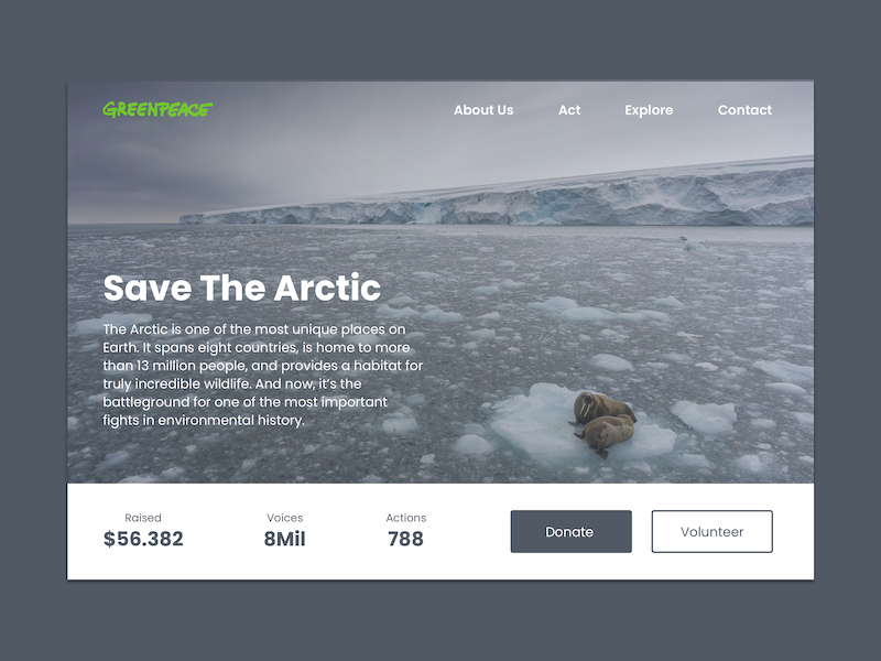 #032 Crowdfunding Campaign redesign greenpeace savethearctic campaign crowdfunding uxdesign uidesign 032 challenge dailyui