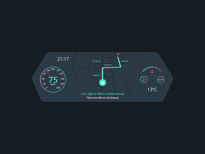 #034 Car Interface nightmode car dashboard carinterface uxdesign uidesign 034 challenge dailyui